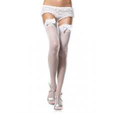 THIGH HIGHS  W SATIN BOW WHITE OS